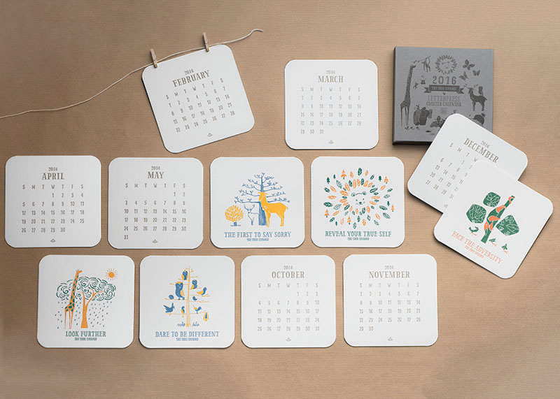 2016 Letterpress Coaster Calendar - The True Courage