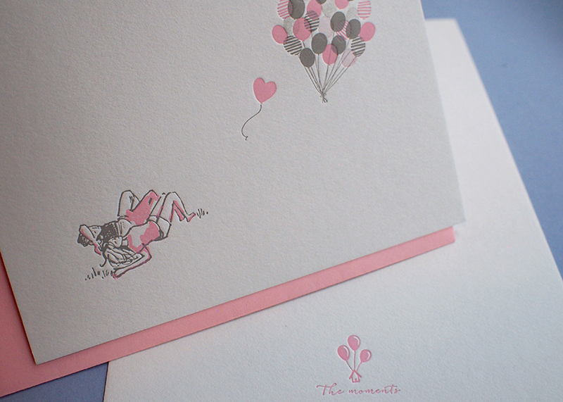 Letterpress Love Card - Flying Balloons