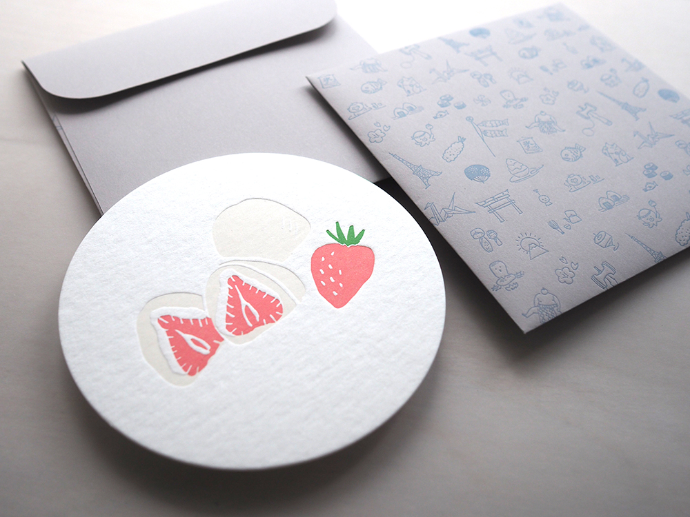 Letterpress Food Notecard - Ichigo Daifuku