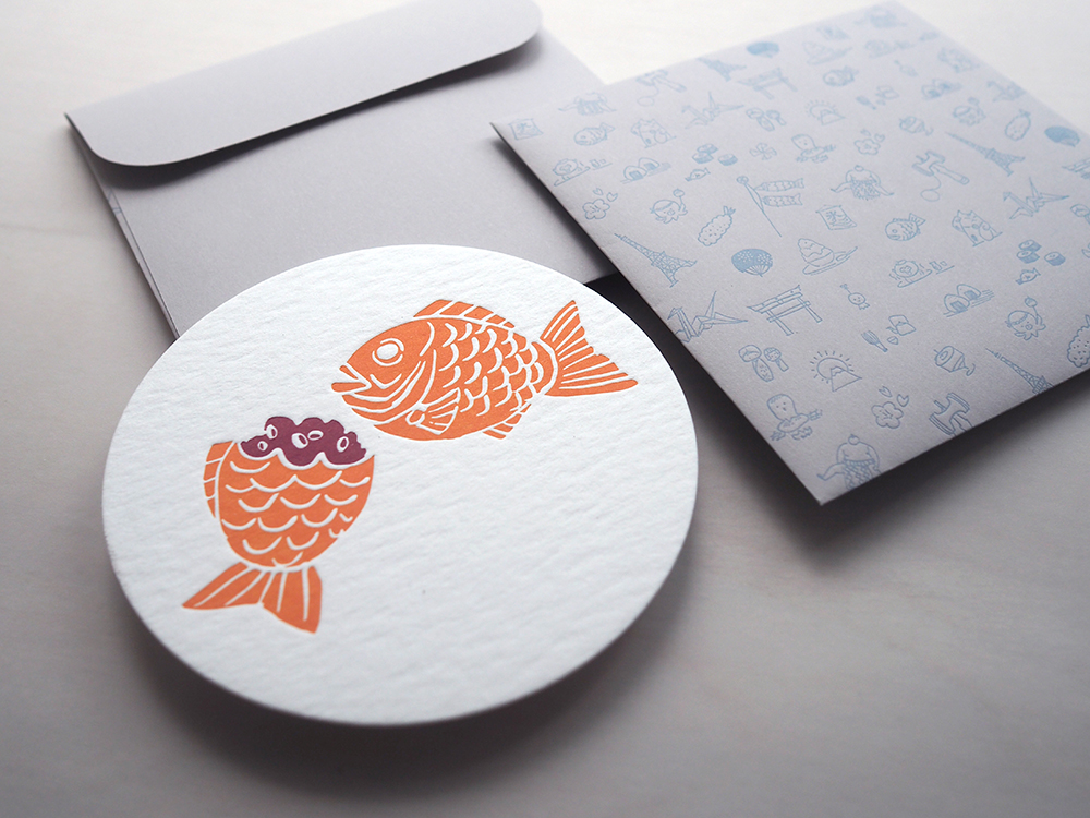 Letterpress Food Notecard - Taiyaki