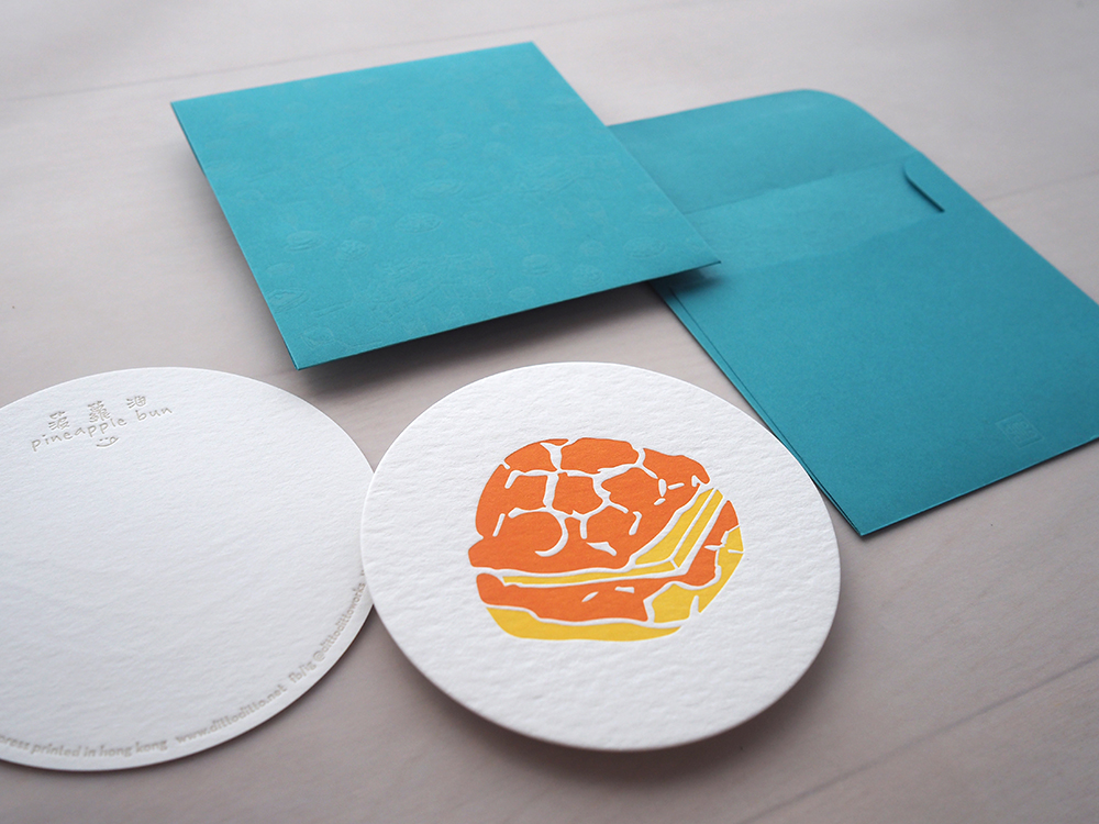 Letterpress Food Notecard - Pineapple Bun