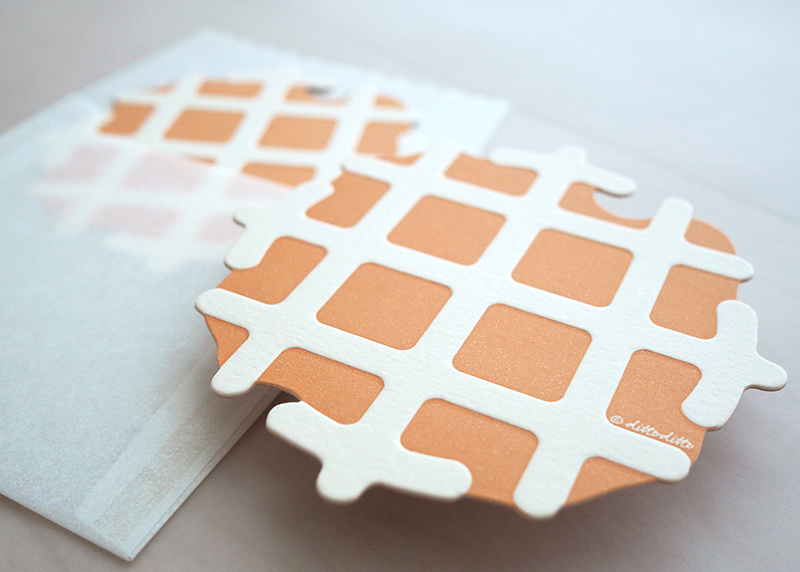 Letterpress Food Notecard - Waffles