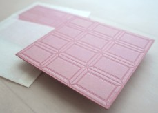 Letterpress Food Notecard - Strawberry Chocolate Bar