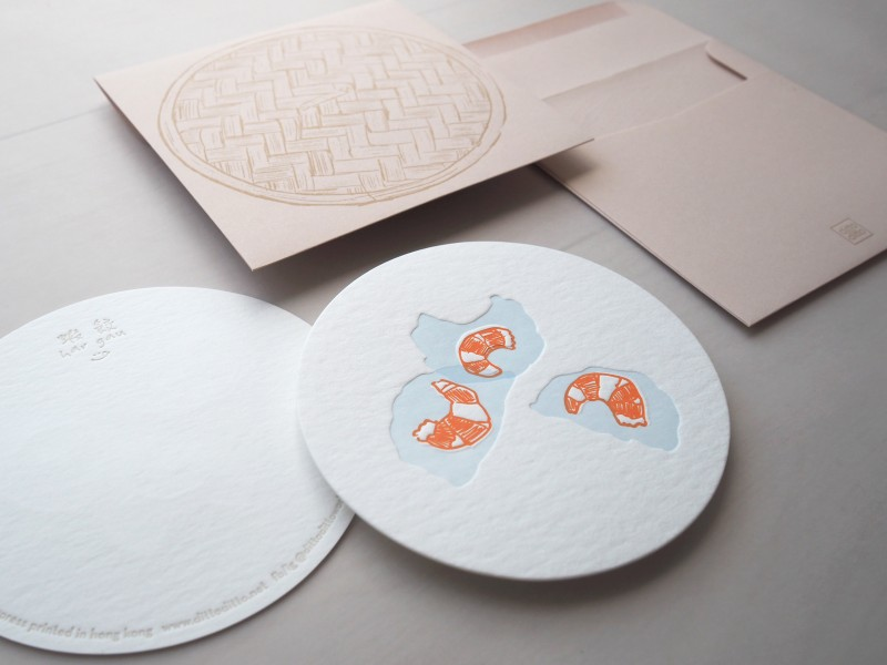 Letterpress Food Notecard - Shrimp Dumpling