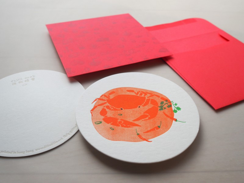 Letterpress Food Notecard - Chilli Crab