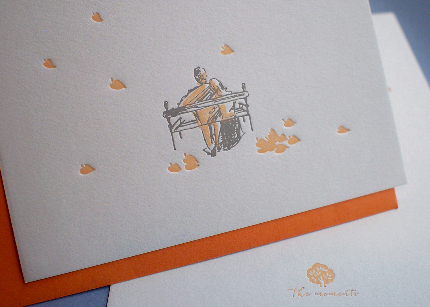 Letterpress Love Card - Falling Leaves